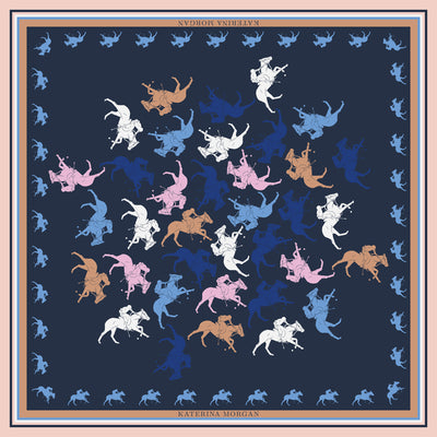 Silk women scarf with horse polo design, navy, beige and blue