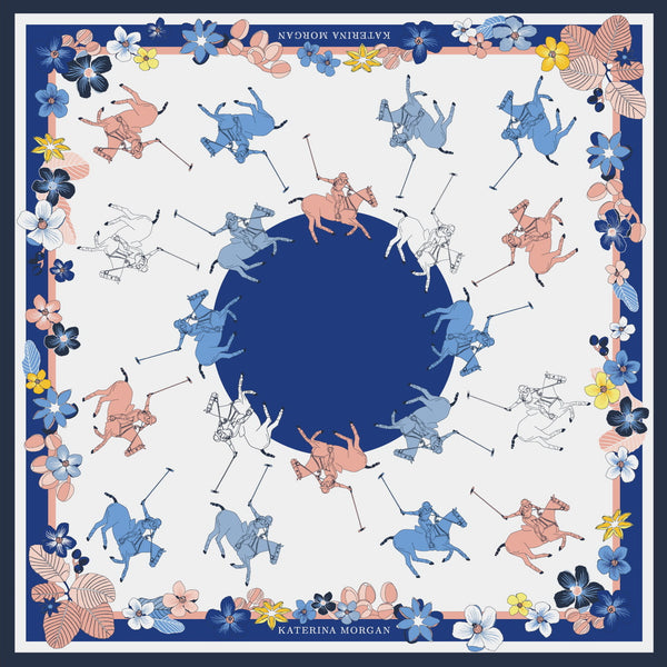 Beige and navy ladies polo silk scarf