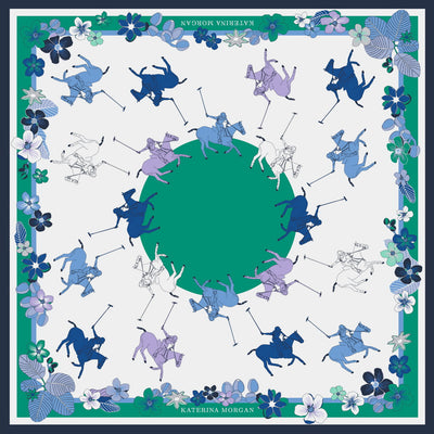 Ladies horse polo silk scarf in green and blue colors