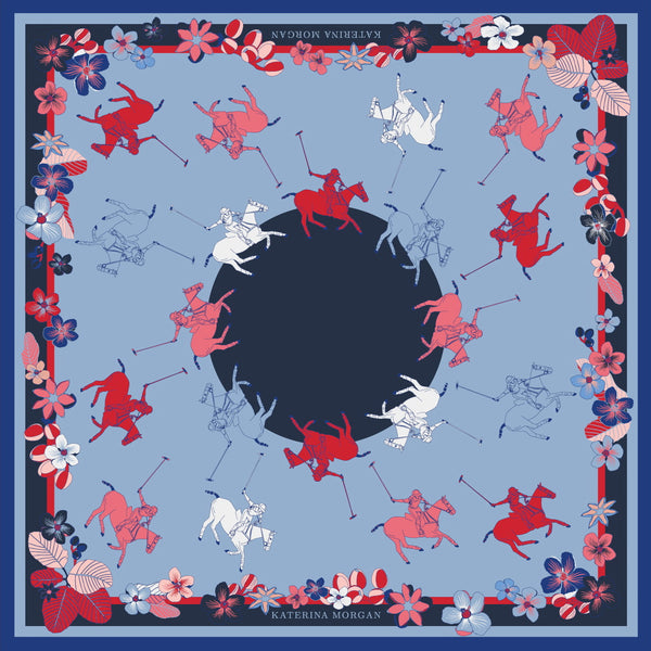 Navy and red silk scarf with ladies polo theme