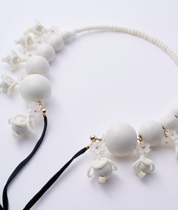 〈lilibySERI〉WOOD FLOWER RIBBON CHOKER /ウッドフラワーリボンチョーカー(WHITE)