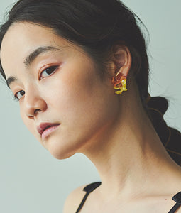 〈mellow〉DOUBLE FLOWER EARRINGS /ダブルフラワーイヤリング(ORANGE×YELLOW)
