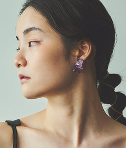 〈mellow〉DOUBLE FLOWER EARRINGS /ダブルフラワーイヤリング(PURPLE)