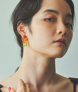 〈mellow〉DOUBLE FLOWER PIERCE /ダブルフラワーピアス(ORANGE×GREEN)
