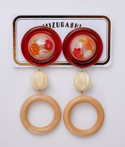 〈MIZUGASHI〉PIERCE SNOW DOME BIG /ピアススノードームビッグ(RED)