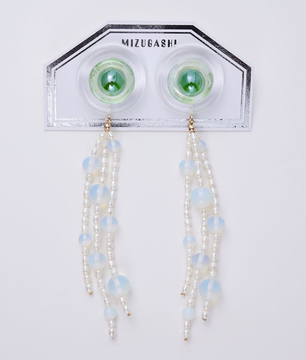 〈MIZUGASHI〉EARRINGS PEARL /イヤリングパール(GREEN)