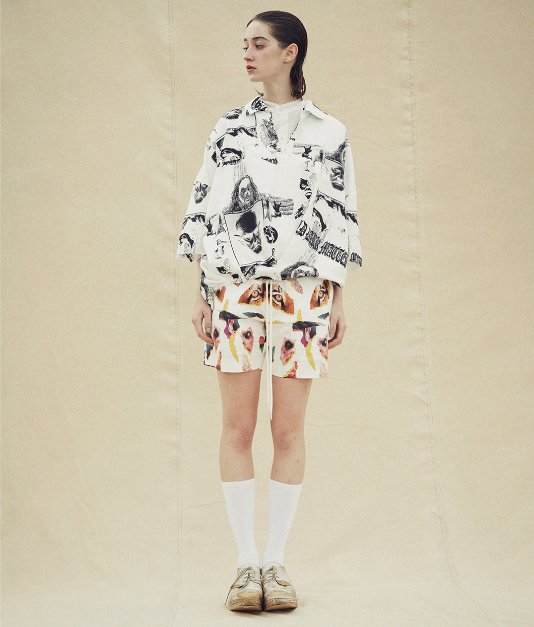 〈JUVENILE HALL ROLLCALL〉COLLAGE PRINT SHORTS / コラージュプリントショーツ (WHITE)