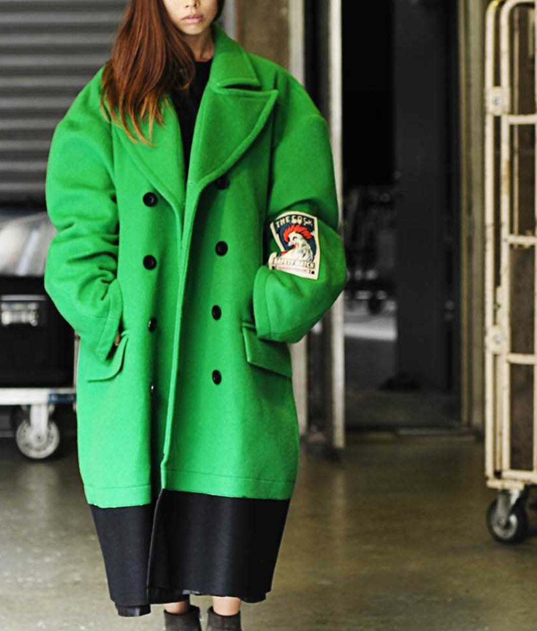 〈TENDER PERSON〉THREE LAYERED LONG P-COAT / 3レイヤードロングPコート (GREEN/BLACK)