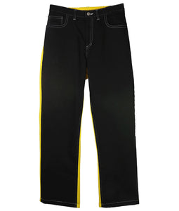 〈TENDER PERSON〉JARSEY DENIM PANTS / ジャージーデニムパンツ (BLACK/YELLOW)