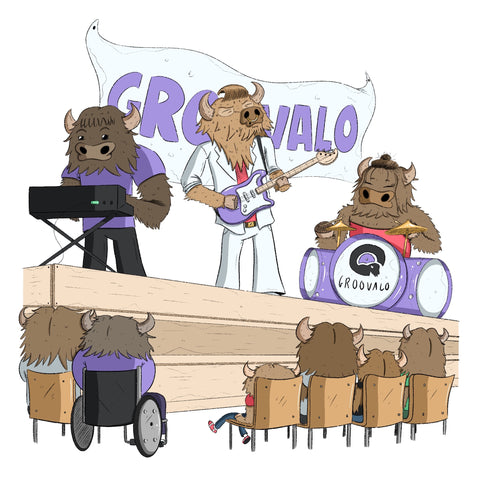 A band of groovalos playing for an audience of groovalos