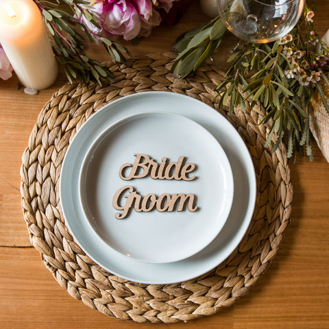 FREE Sample Bride & Groom Wooden Place Cards