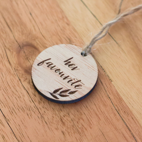 Engraved Wooden Wedding Favour Tags | His / Her Favourite