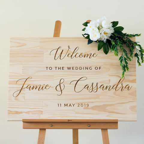 Engraved Wooden Wedding Welcome Sign