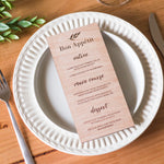 Engraved Wooden Wedding Menu 10 Pack+