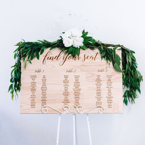 Engraved Rustic Wooden Seating Sign