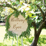 Engraved Round Wooden Script Welcome Sign