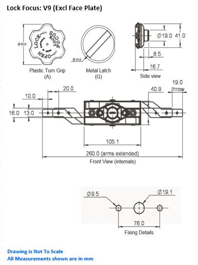 Lock Focus V9: Roller Door Lock (Excl Face Plate)