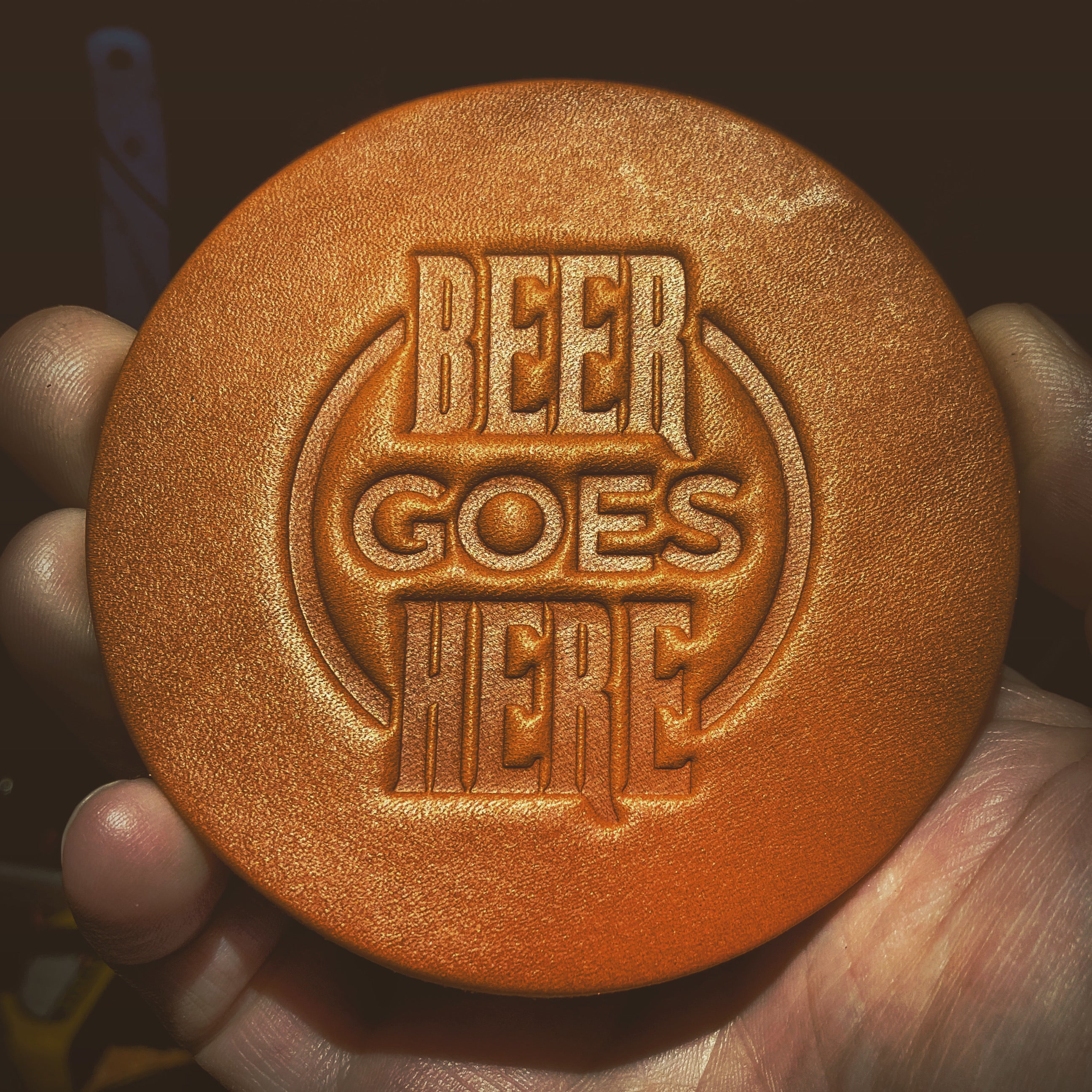 Beer Goes Here Leather Coaster | Set of four