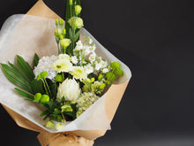 Load image into Gallery viewer, Green and White Flower bouquet for Mother's Day includes seasonal flowers