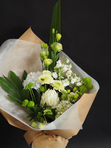 The Marilyn, Green and White seasonal flowers, perfect for Mothers Day