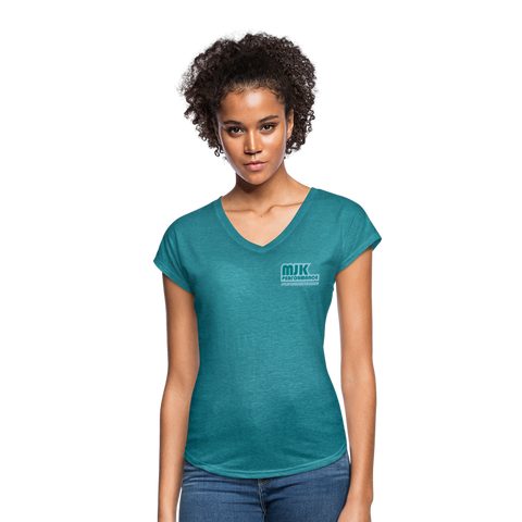 MJK Women's Tri-Blend V-Neck T-Shirt -Turquoise - heather turquoise