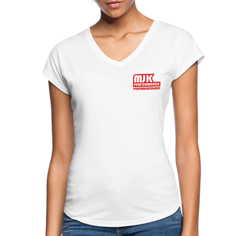 MJK Women's Tri-Blend V-Neck T-Shirt - White - white