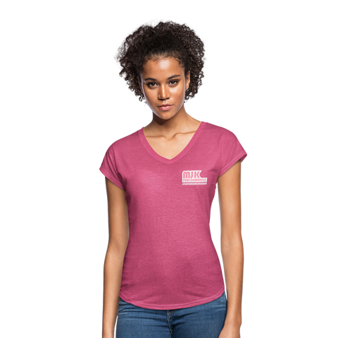 MJK Women's Tri-Blend V-Neck T-Shirt - Pink - heather raspberry