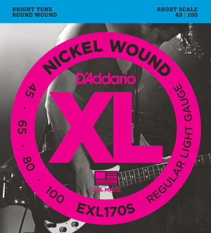 D'Addario EXL170S Nickel Wound Bass Light 45-100 Short Scale