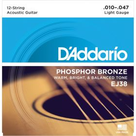 D'Addario EJ38 12-String Phosphor Bronze Light 10-47