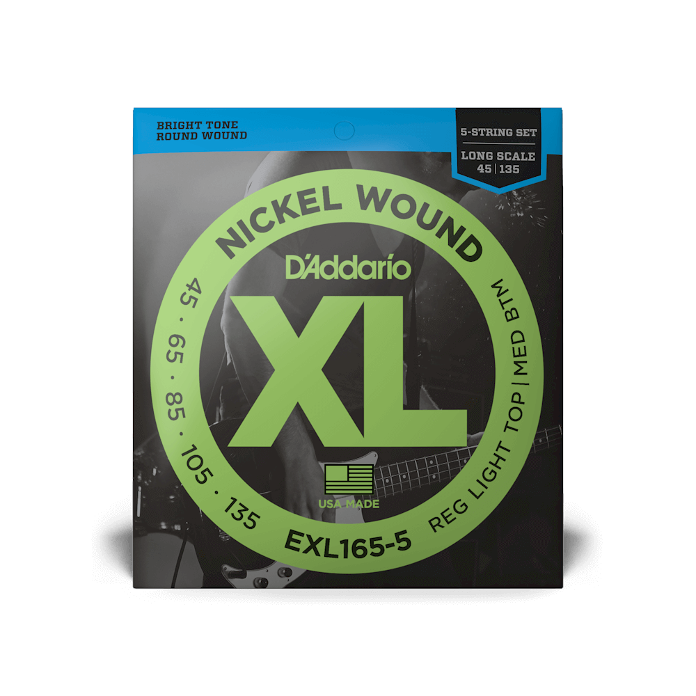 D'Addario EXL165-5 Nickel Wound Bass Custom Light 45-135 Long Scale