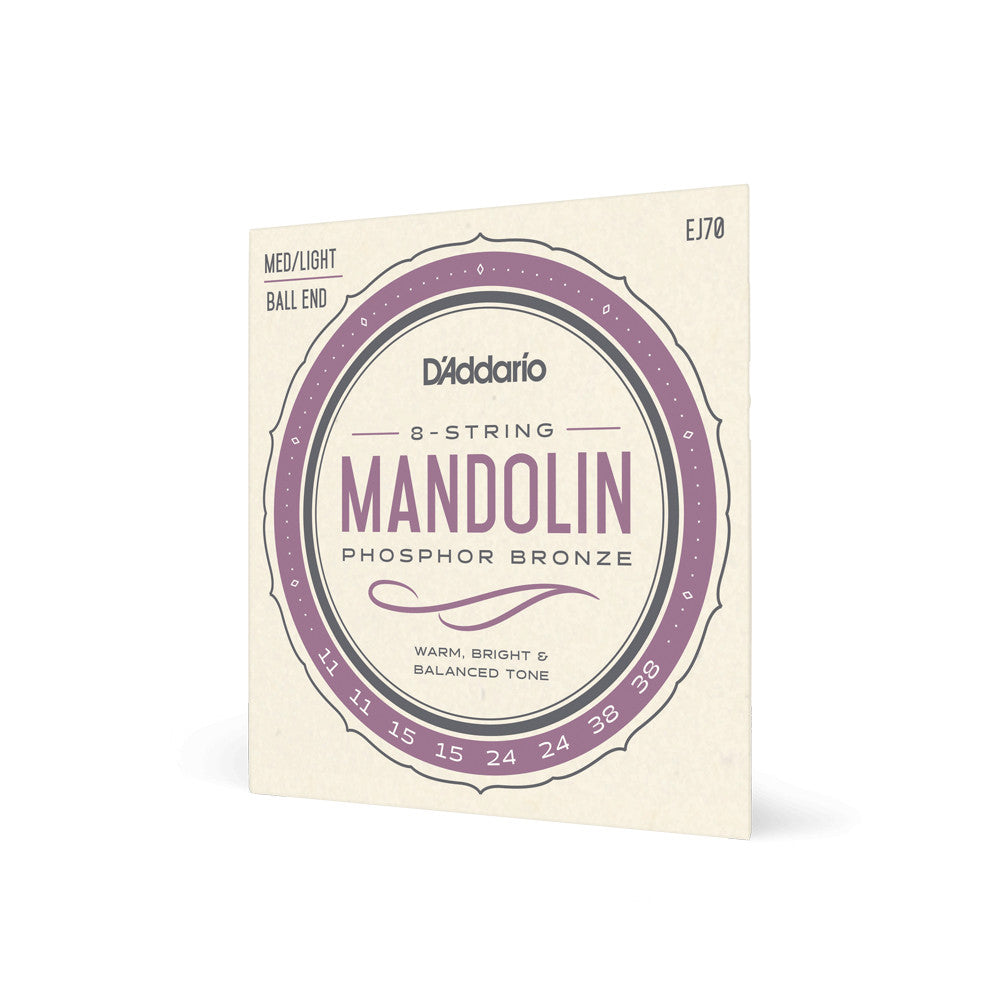 D'Addario EJ70 Mandolin Strings Phosphor Bronze Med/Light 11-38 Ball End
