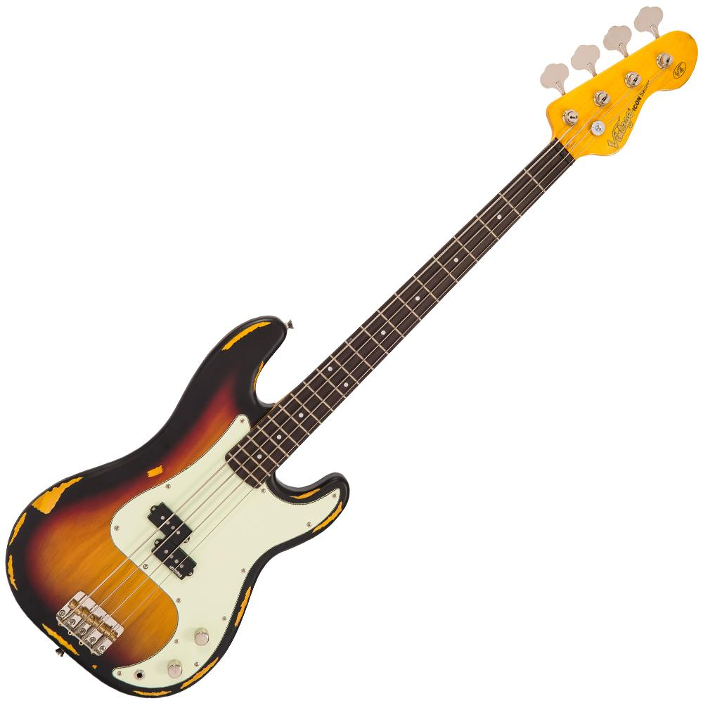 Vintage V4MRSSB ICON Bass - Distressed Sunset Sunburst