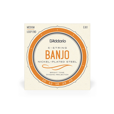 D'Addario EJ61 5-String Banjo Nickel Medium 10-23