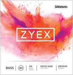 D'Addario DZ610 3/4M Zyex Bass String Set - 3/4 Scale - Med