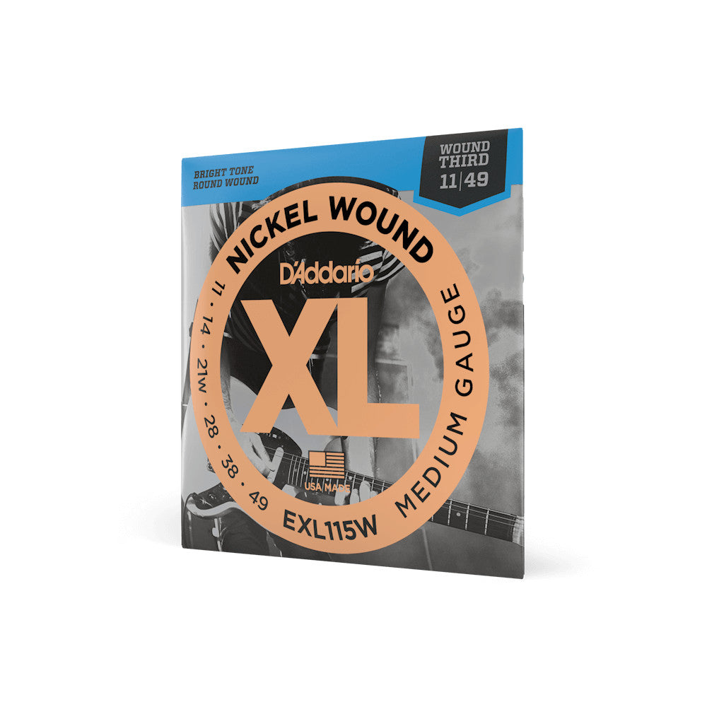 D'Addario EXL115W Nickel Wound Medium/Blues-Jazz Rock Wound 3rd 11-49