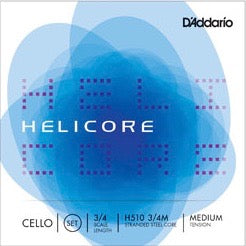 D'Addario H510 3/4M Helicore Cello String Set - 3/4 Scale - Med