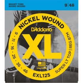D'Addario EXL125 Nickel Wound Super Light Top/ Regular Bottom 9-46