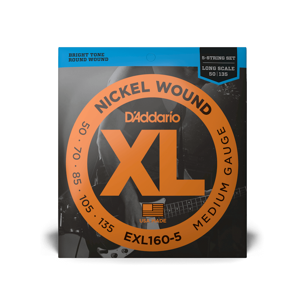 D'Addario EXL160-5 Nickel Wound 5-String Bass Medium 50-135 Long Scale