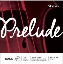D'Addario J610 3/4M Prelude Bass String Set - 3/4 Scale - Med