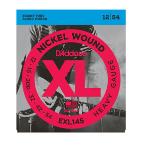 D'Addario EXL145 Nickel Wound Heavy Plain 3rd 12-54