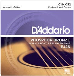 D'Addario EJ26 Phosphor Bronze Acoustic Strings Custom Light 11-52