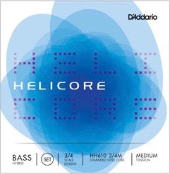D'Addario HH610 3/4M Helicore Hybrid Bass String Set - 3/4 Scale - Med