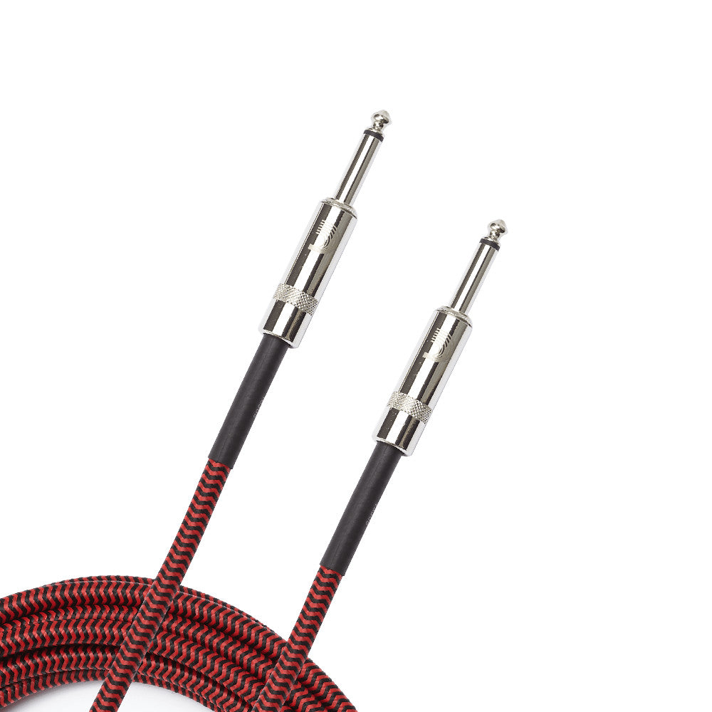 D'Addario PW-BG-15RD Braided Instrument Cable - Red 15'