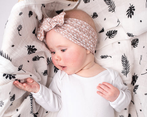 Sensory Muslin Swaddle Blankets - Baby Looking At Swaddle