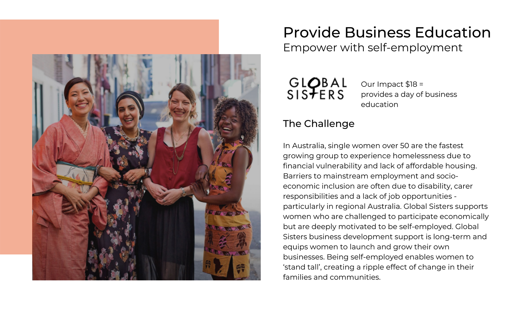 Aôra Voyage support Global Sisters to help disadvantaged women start their own business