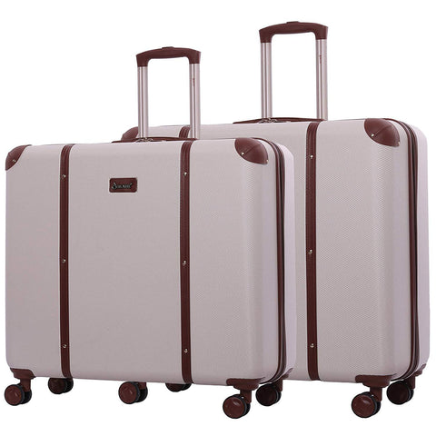 Aerolite Vintage Trunk Style Hard Shell Suitcase Luggage Set