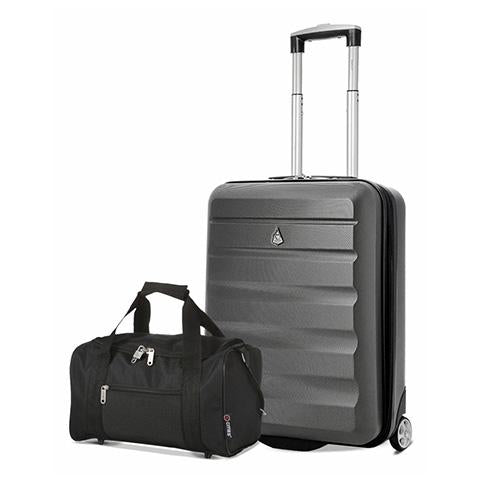 Aerolite (55x40x20cm) Lightweight Hard Shell Cabin Hand Luggage and 5 Cities (35x20x20cm) Black Holdall