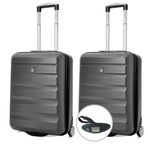 Aerolite (55x40x20cm) Lightweight Hard Shell Cabin Hand Luggage (x2 Set) with Luggage Scale