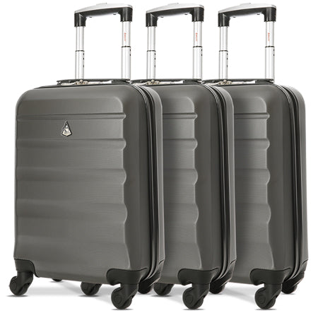 Aerolite (55x35x20cm) Lightweight Hard Shell Cabin Hand Luggage (x3 Set)
