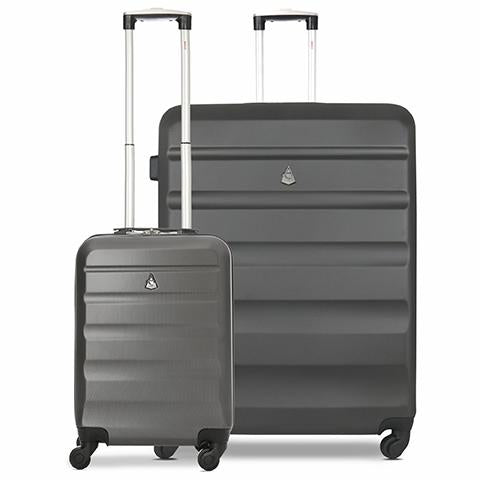 Aerolite Lightweight Hard Shell Suitcase Luggage Set (Cabin + Large, Charcoal)